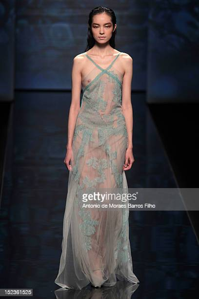 A model walks the runway during Alberta Ferretti show as a part of Milan Fashion Week Womenswear S/S 2013 on September 19 2012 in Milan Italy