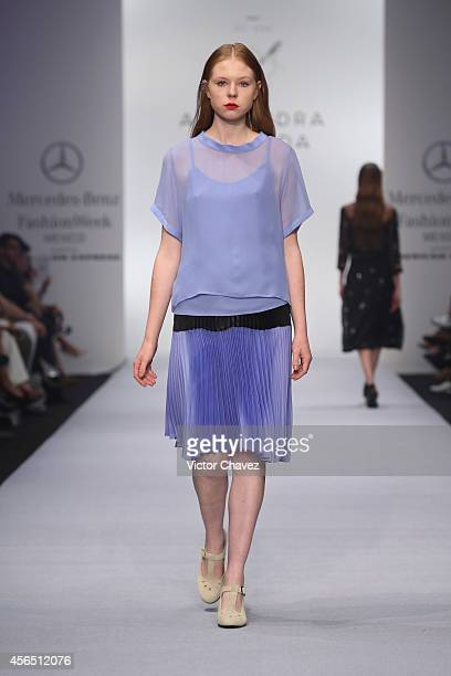 A model walks the runway during Alejandra Quesada show at MercedesBenz Fashion Week México Spring/Summer 2015 at Campo Marte on October 1 2014 in...