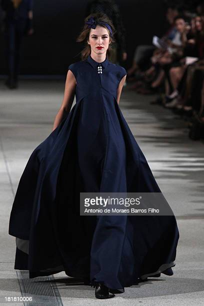 Model walks the runway during Alexis Mabille show as part of the Paris Fashion Week Womenswear Spring/Summer 2014 on September 25, 2013 in Paris,...