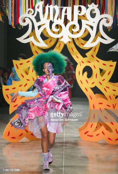 A model walks the runway during Amapo show during SPFW N48 Day 3 at Pavilhao das Culturas Brasileiras on October 17 2019 in Sao Paulo Brazil