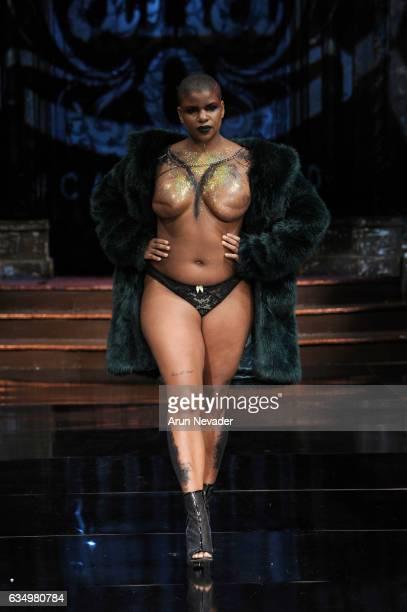 A model walks the runway during AnaOno Intimates X #Cancerland at New York Fashion Week Art Hearts Fashion NYFW FW/17 at The Angel Orensanz...