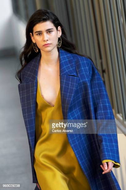 A model walks the runway during Angel Schlesser fashion show as part of the Mercedes Benz Fashion Week Madrid Spring/ Summer 2019 at the Jardin...