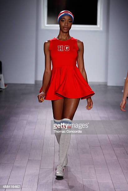 A model walks the runway during Angela Simmons Presents Foofi and Harlem Globetrotters 90th Anniversary Collection at KIA STYLE360 on September 15...