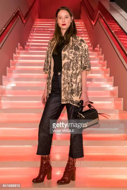 A model walks the runway during Animale fashion show as part of Sao Paulo N44 Fashion Week Spring/Summer 2018 on August 30 2017 in Sao Paulo Brazil