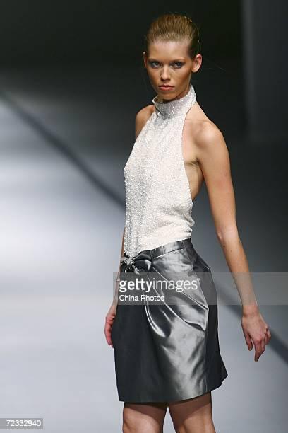A model walks the runway during Australian designer Jayson Brunsdon's fashion show at the 2006 Shanghai Fashion Week on October 31 2006 in Shanghai...
