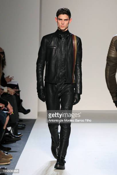 A model walks the runway during Belstaff show as a part of Milan Fashion Week Menswear Autumn/Winter 2013 on January 14 2013 in Milan Italy