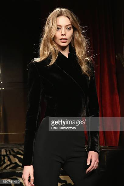 A model walks the runway during Brandon Maxwell Fall 2016 New York Fashion Week at Monkey Bar on February 16 2016 in New York City
