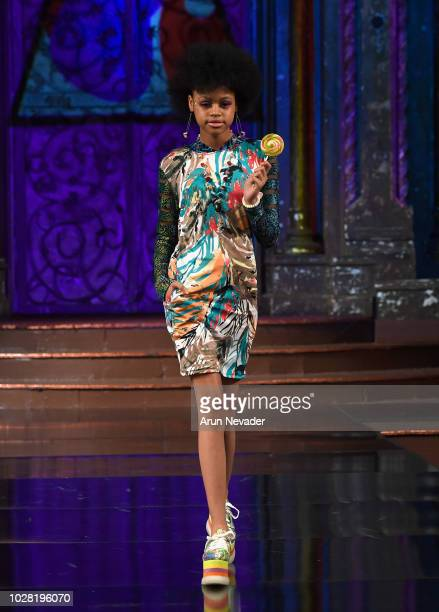 Model walks the runway during BURNING GUITARS show At New York Fashion Week Powered By Art Hearts Fashion at The Angel Orensanz Foundation on...
