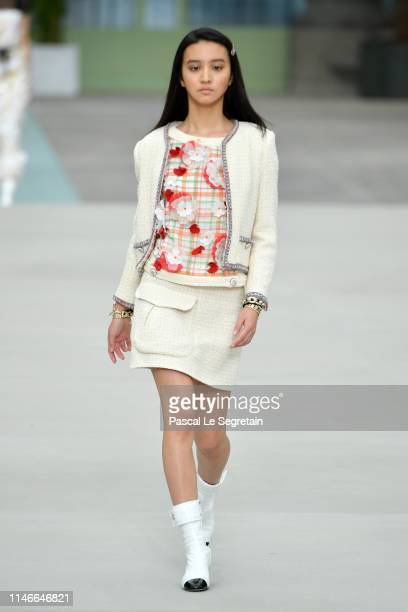 Model walks the runway during Chanel Cruise 2020 Collection at Le Grand Palais on May 03, 2019 in Paris, France.