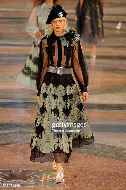 Model walks the runway during Chanel Cruise Collection 2016/2017 on May 3, 2016 in Havana, Cuba.