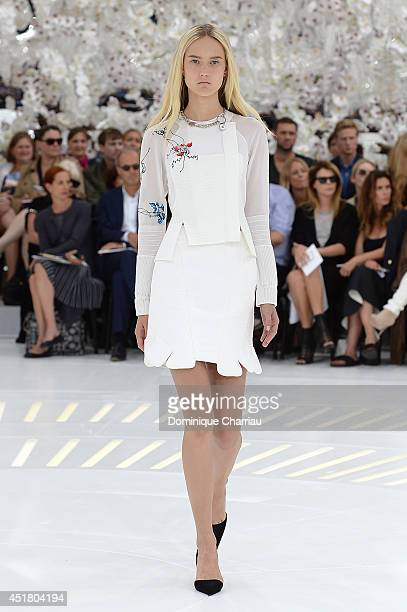 A model walks the runway during Christian Dior show as part of Paris Fashion Week Haute Couture Fall/Winter 20142015 on July 7 2014 in Paris France