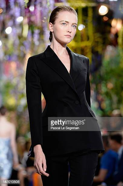 A model walks the runway during Christian Dior show as part of the Paris Fashion Week Womenswear Spring/Summer 2014 at Musee Rodin on September 27...