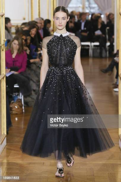 A model walks the runway during Christophe Josse Spring/Summer 2013 HauteCouture show as part of Paris Fashion Week at Hotel Crillon on January 21...