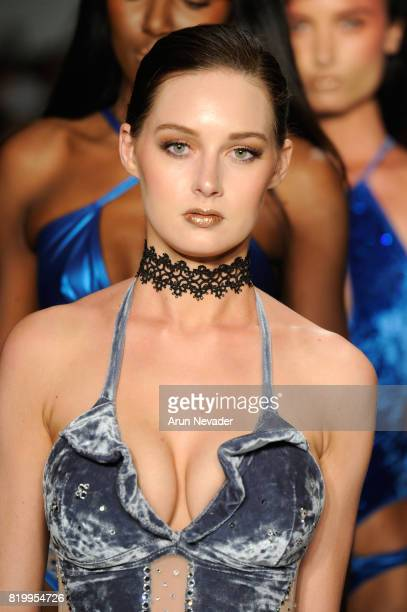 A model walks the runway during Cirone Swim at Miami Swim Week Art Hearts Fashion at FUNKSHION Tent on July 20 2017 in Miami Florida