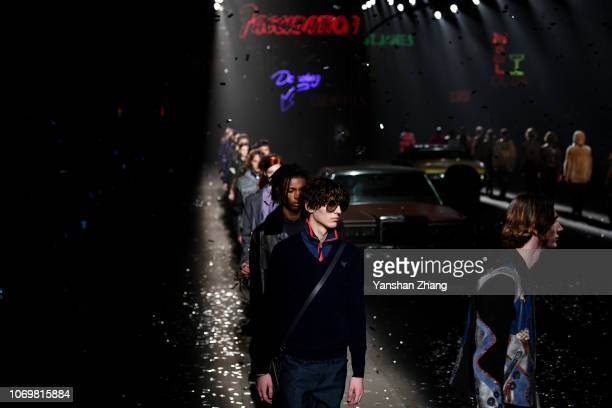 A model walks the runway during COACH 2019 early autumn collection fashion show on December 8 2018 in Shanghai China