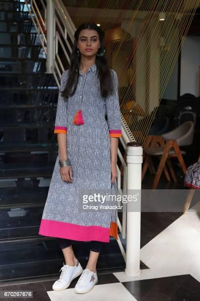 A model walks the runway during Craftsvilla's 'Anuswara' collection at AKA Bistro on April 19 2017 in Mumbai India