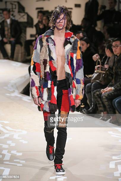 A model walks the runway during Cristian Dada Fall/Winter 20152016 show as part of Paris Fashion Week on January 24 2015 in Paris France