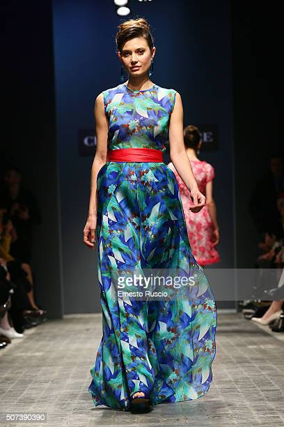 A model walks the runway during Curiel Couture Fashion Show at AltaRoma on January 29 2016 in Rome Italy