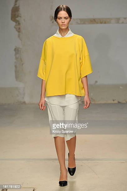 A model walks the runway during Damir Doma show as part of the Paris Fashion Week Womenswear Spring/Summer 2014 on September 25 2013 in Paris France