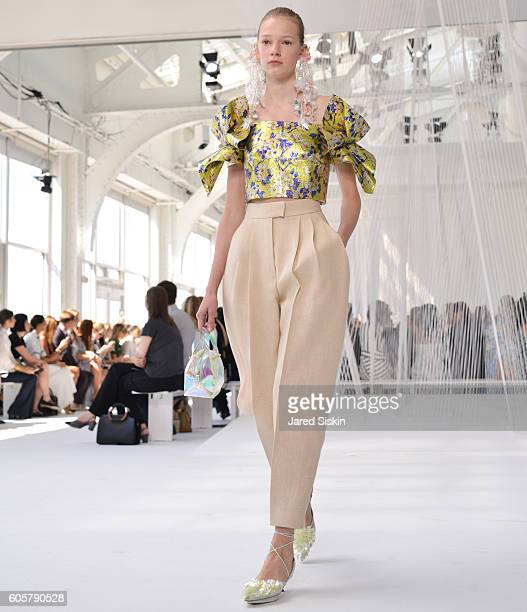 Model walks the runway during Delpozo - Front Row - September 2016 - New York Fashion Weekat Pier 59 on September 14, 2016 in New York City.