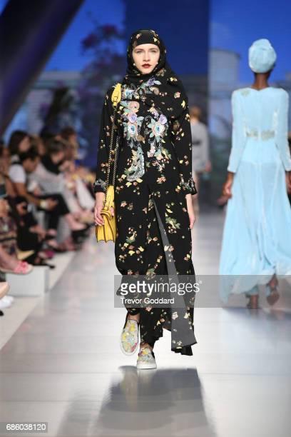 A model walks the runway during Designer Marchesa Bridal show at Arab Fashion Week Ready Couture Resort 2018 on May 20 2017 at Meydan in Dubai United...