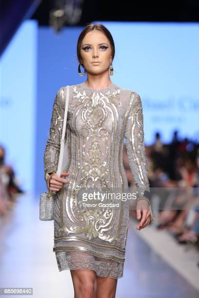 A model walks the runway during Designer Michael Cinco's show at Arab Fashion Week Ready Couture Resort 2018 on May 192017 at Meydan in Dubai United...