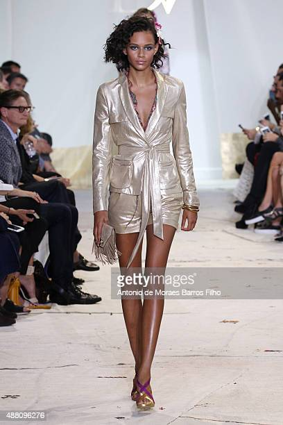 A model walks the runway during Diane Von Furstenberg as a part of Spring 2016 New York Fashion Week at Spring Studios on September 13 2015 in New...