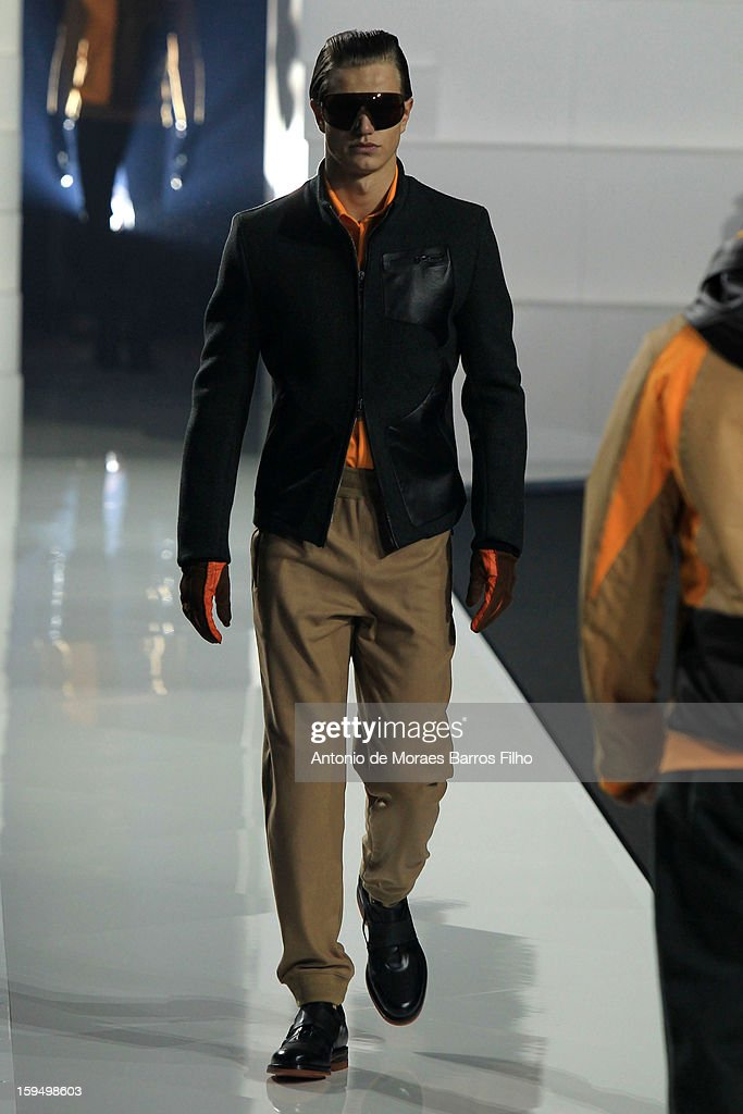 A model walks the runway during Dirk Bikkembergs show as a part of Milan Fashion Week Menswear Autumn/Winter 2013 on January 14, 2013 in Milan, Italy.