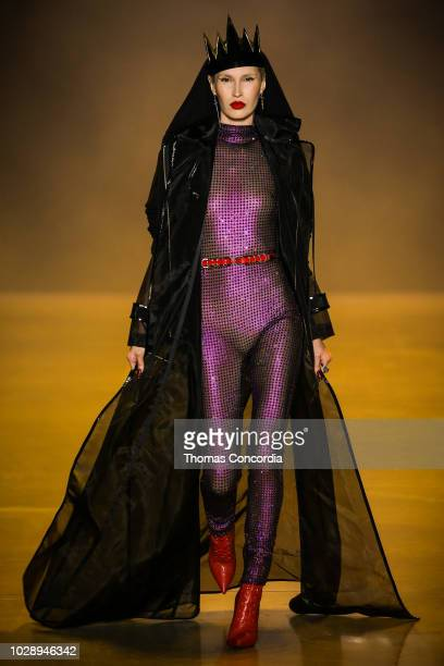 Model walks the runway during Disney Villains x The Blonds fashion show at Gallery I at Spring Studios on September 7, 2018 in New York City.