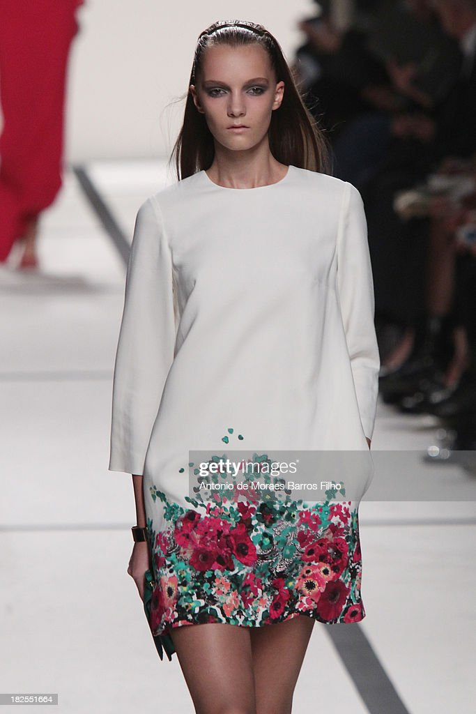 A model walks the runway during Elie Saab show as part of the Paris Fashion Week Womenswear Spring/Summer 2014 on September 30, 2013 in Paris, France.