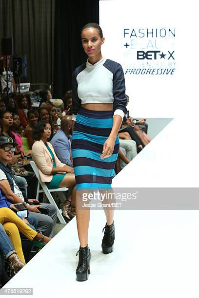 A model walks the runway during Fashion and Beauty @BETX presented by Progressive during the 2015 BET Experience at the Los Angeles Convention Center...