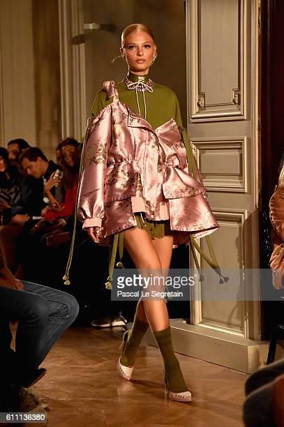 A model walks the runway during FENTY x PUMA by Rihanna at Hotel Salomon de Rothschild on September 28 2016 in Paris France