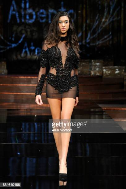 A model walks the runway during Fernando Alberto Atelier at New York Fashion Week Art Hearts Fashion NYFW FW/17 at The Angel Orensanz Foundation on...