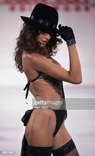 A model walks the runway during Fredericks of Hollywood 2006 Spring Fashion Show at the Avalon club October 26 2005 in Los Angeles California