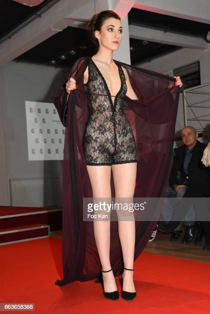 A model walks the runway during Georges Bedran Fashion Show at Espace Batignolles on April 1 2017 in Paris France