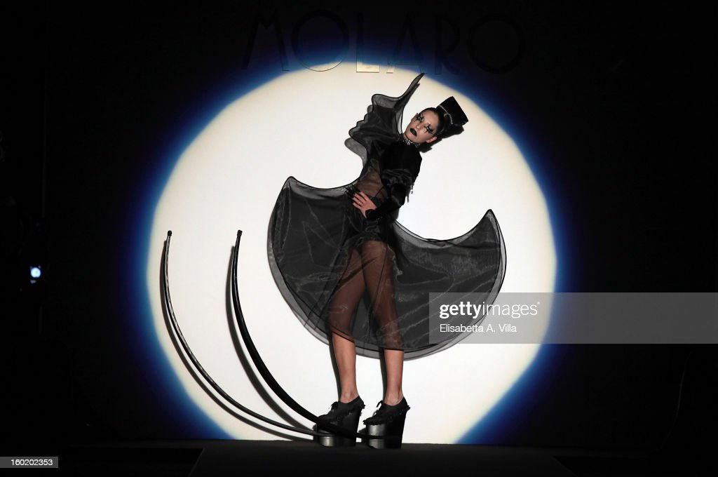 A model walks the runway during Gianni Molaro S/S 2013 Italian Art Couture colletion fashion show as part of AltaRoma AltaModa Fashion Week at Santo Spirito In Sassia on January 27, 2013 in Rome, Italy.