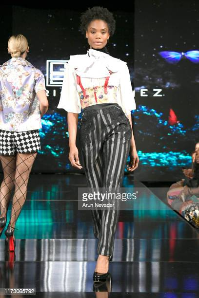 A model walks the runway during GREGORIO SANCHEZ At New York Fashion Week Powered by Art Hearts Fashion NYFW September 2019 at The Angel Orensanz...