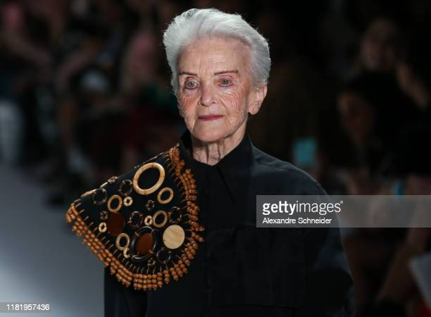 A model walks the runway during Handred show during SPFW N48 Day 4 at Pavilhao das Culturas Brasileiras on October 18 2019 in Sao Paulo Brazil