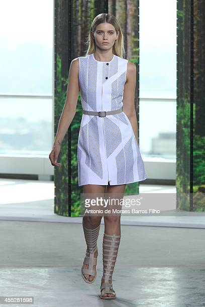 A model walks the runway during Hugo Boss show at MercedesBenz Fashion Week Spring 2015 at 4 World Trade Center on September 10 2014 in New York City