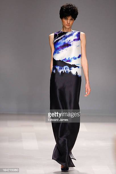 A model walks the runway during Joe Fresh at David Pecaut Square on March 20 2013 in Toronto Canada