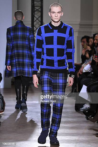 Model walks the runway during John Lawrence Sullivan show as part of Paris Menswear Fashion Week Fall/Winter 2011-2012 at BMCS on January 20, 2011 in...