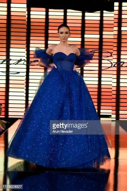 A model walks the runway during KENNETH BARLIS at New York Fashion Week Powered by Art Hearts Fashion NYFW September 2019 at The Angel Orensanz...