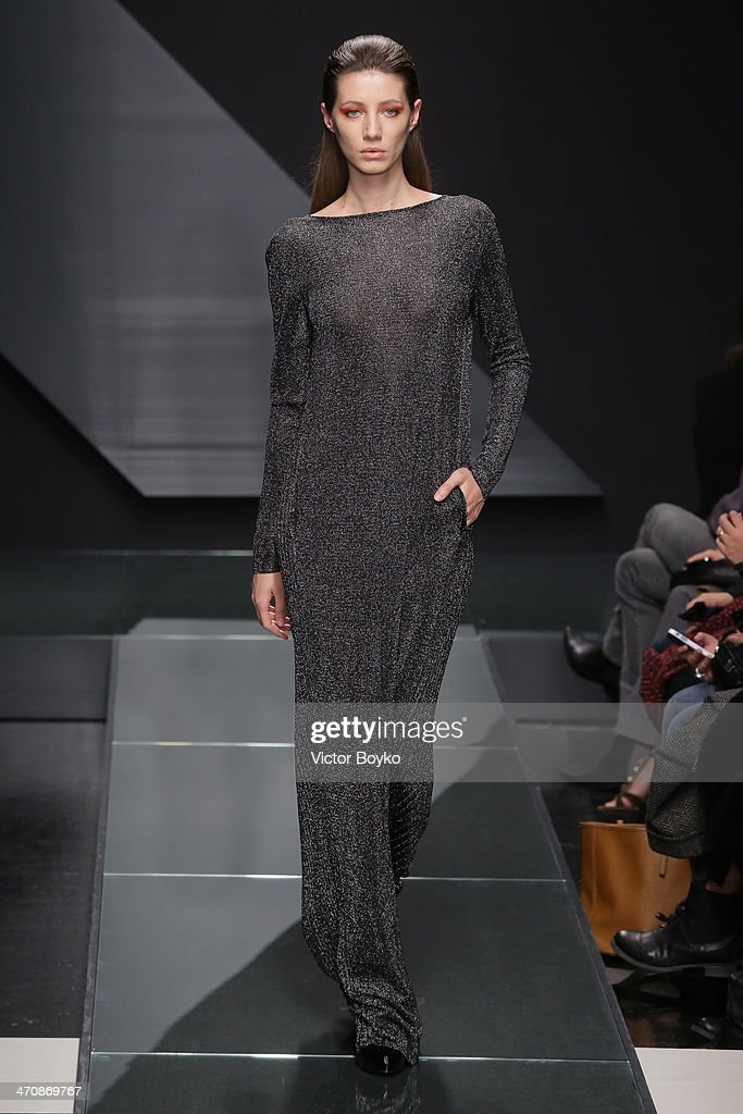 A model walks the runway during Krizia show as part of Milan Fashion Week Womenswear Autumn/Winter 2014 on February 20, 2014 in Milan, Italy.