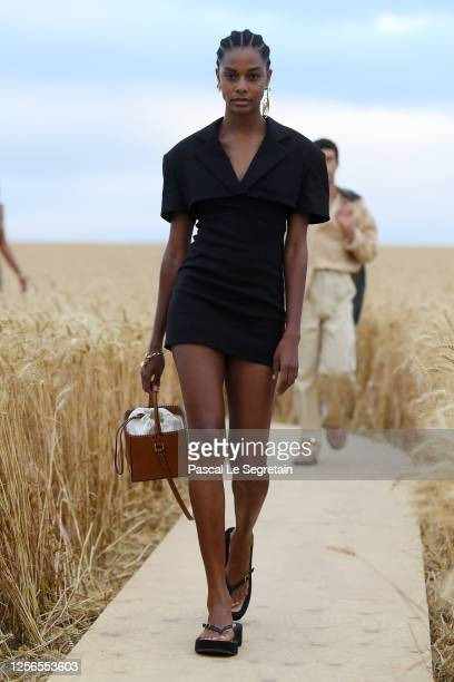 """Model walks the runway during """"L'Amour"""" : Jacquemus Spring-Summer 2021 Show on July 16, 2020 in Paris, France."""