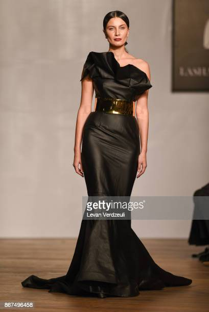 A model walks the runway during Lasha Jokhadze fashion show as part of the Tbilisi Fashion Week on October 27 2017 in Tbilisi Georgia