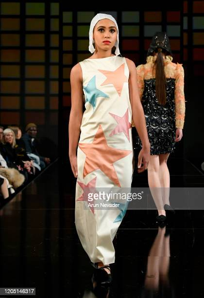 A model walks the runway during Lulu Et Gigi At New York Fashion Week Powered By Art Hearts Fashion NYFW 2020 at The Angel Orensanz Foundation on...