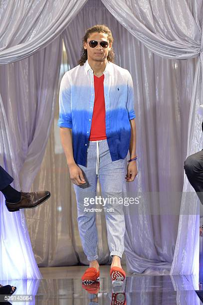 A model walks the runway during Macy's and Broadway Style Guide welcome today's hottest broadway stars for an evening of men's style hosted by NY1's...