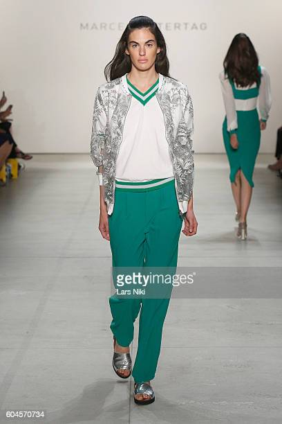 A model walks the runway during Marcel Ostertag S/S 2017 Collection at The Gallery at Skylight Clarkson Sq on September 13 2016 in New York City