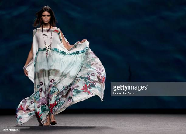 Model walks the runway during Marcos Luengo show at Mercedes Benz Fashion Week Madrid Spring/ Summer 2019 on July 11, 2018 in Madrid, Spain. On July...