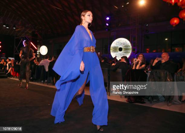 Model walks the runway during Michael Muller's HEAVEN, presented by The Art of Elysium, on January 5, 2019 in Los Angeles, California.